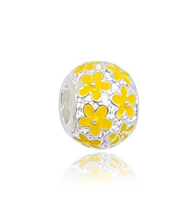 Berloque Separador Flores Amarela Em Prata 925