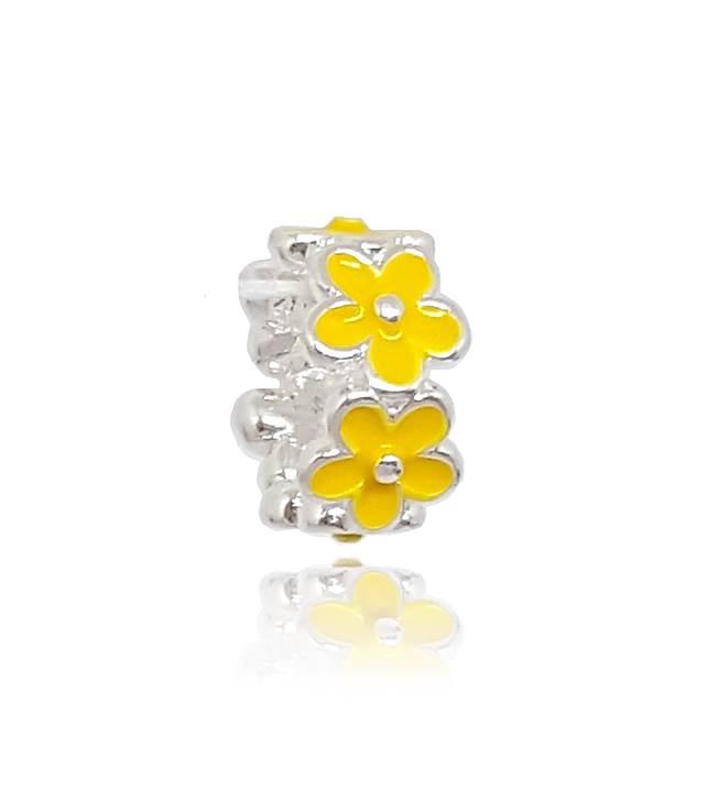 Berloque Separador Flores Amarelas Em Prata 925