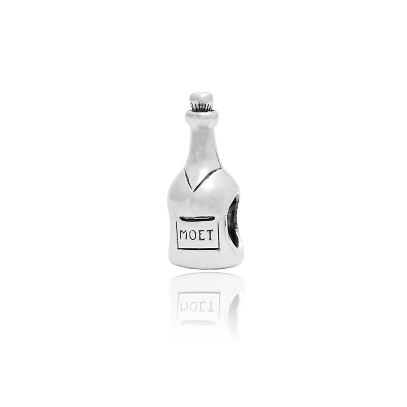 Berloque Separador Garrafa De Champagne Em Prata 925