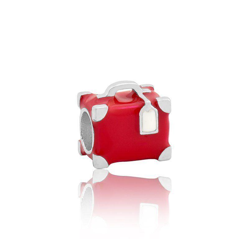 Berloque Separador Mala Vermelha Em Prata 925