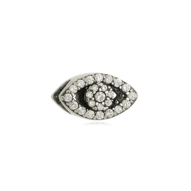Berloque Separador Olho Grego Com Zircônias Em Prata 925