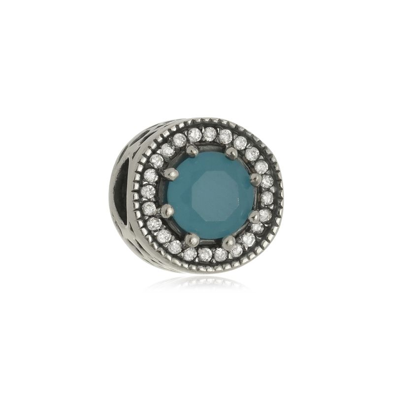 Berloque Separador Pedra Azul Em Prata 925