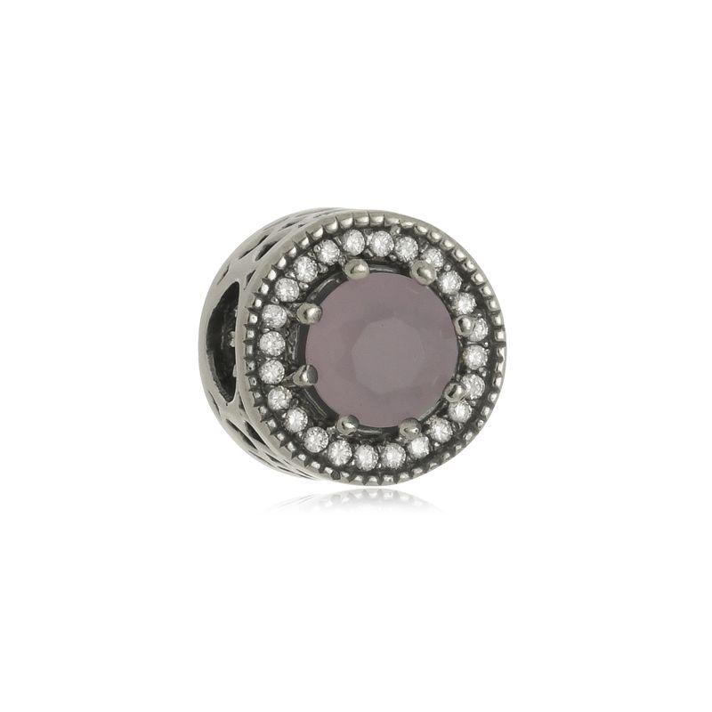 Berloque Separador Pedra Rosa Em Prata 925