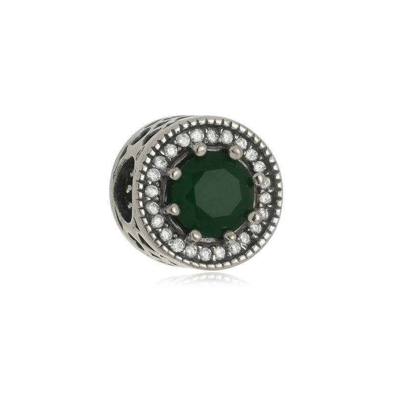 Berloque Separador Pedra Verde Em Prata 925