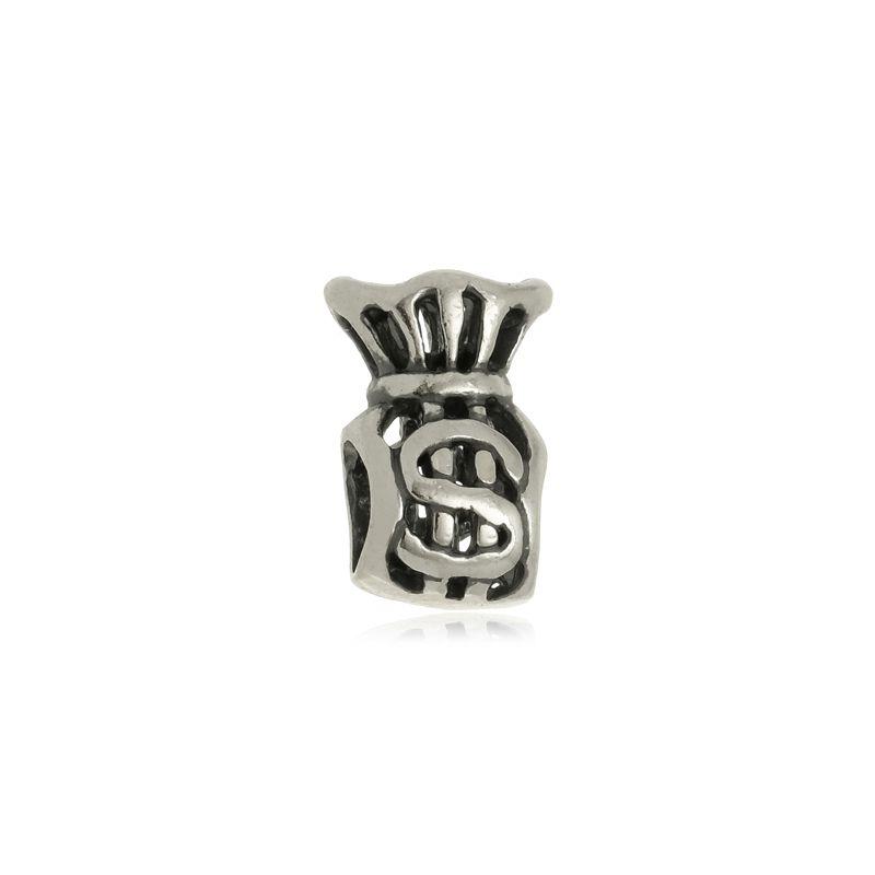 Berloque Separador Saquinho de Dinheiro Em Prata 925