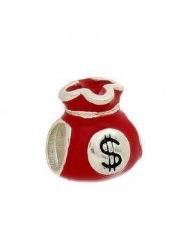 Berloque Separador Saquinho De Dinheiro Vermelho Em Prata 925
