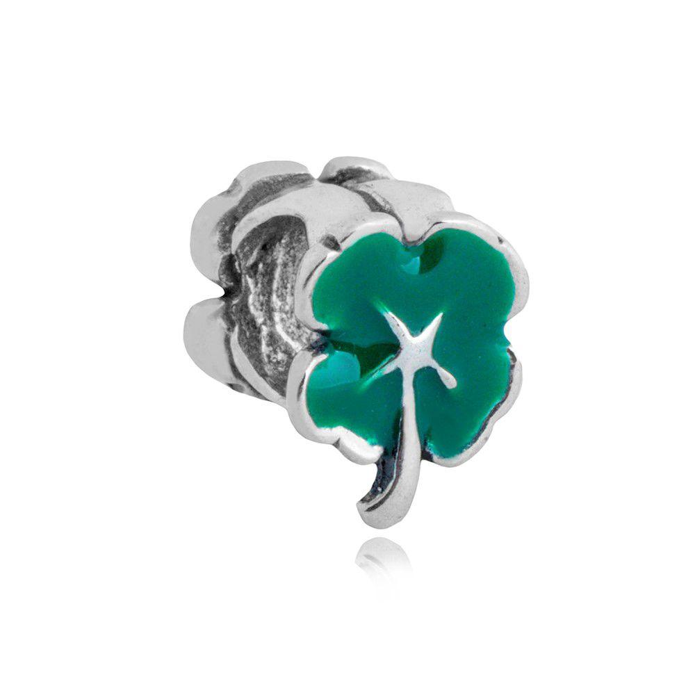 Berloque Separador Trevo Verde Em Prata 925
