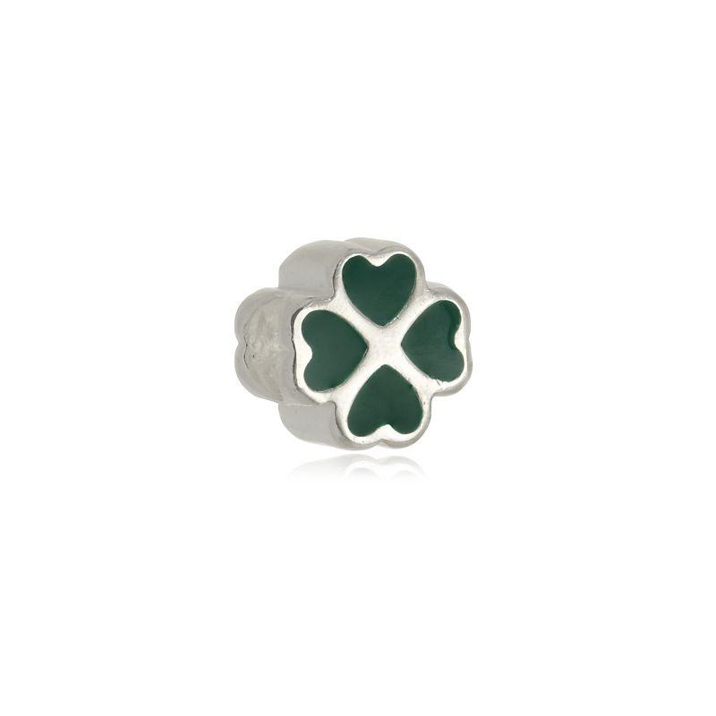 Berloque Separador Trevo Verde II Em Prata 925