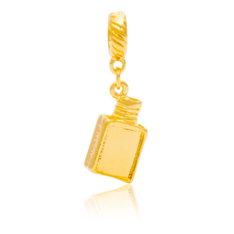 Berloque Tubo de Esmalte Dourado