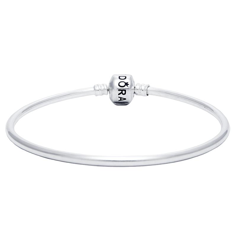 Bracelete Para Berloques Fecho Quadrado Em Prata 925