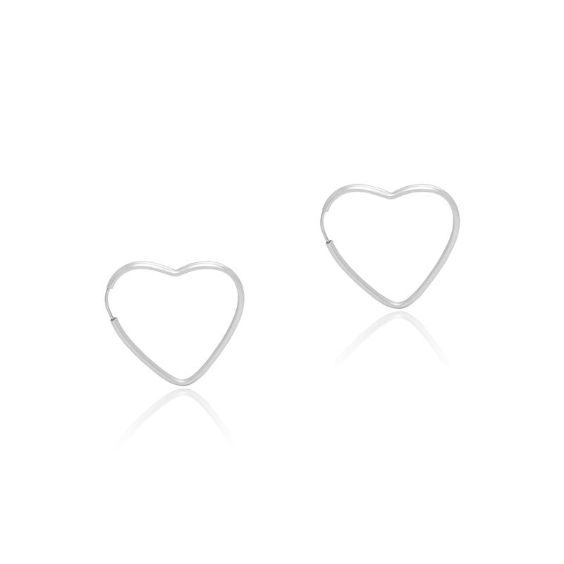 Brinco Argola Coração 2cm Em Prata 925