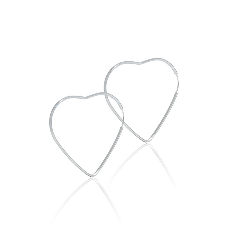 Brinco Argola Coração 4 cm Em Prata 925
