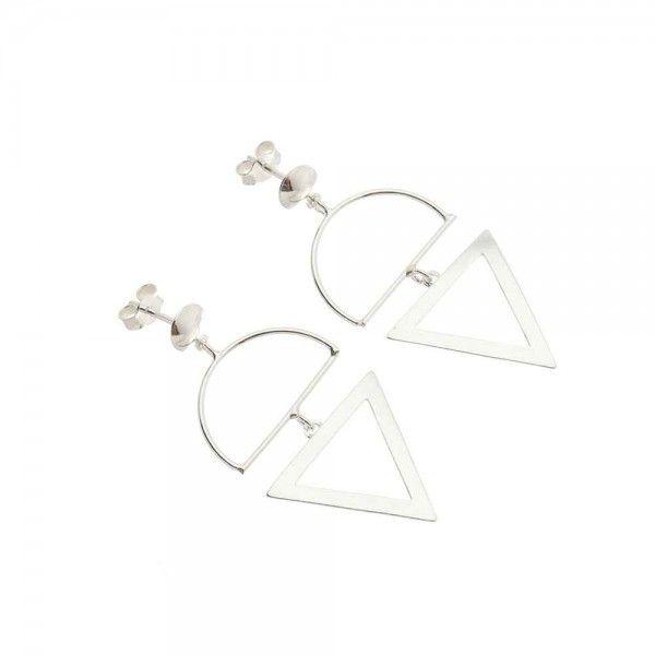 Brinco Circulo E Triângulo 4,5cm Em Prata 925