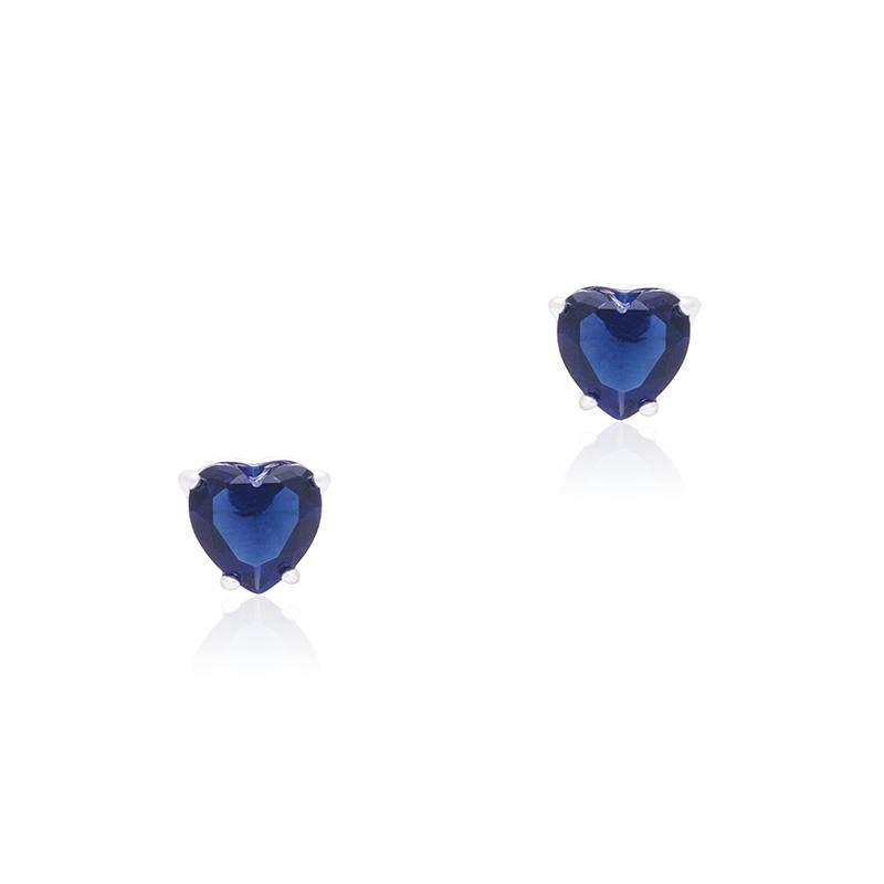Brinco Coração Azul Royal Em Prata 95