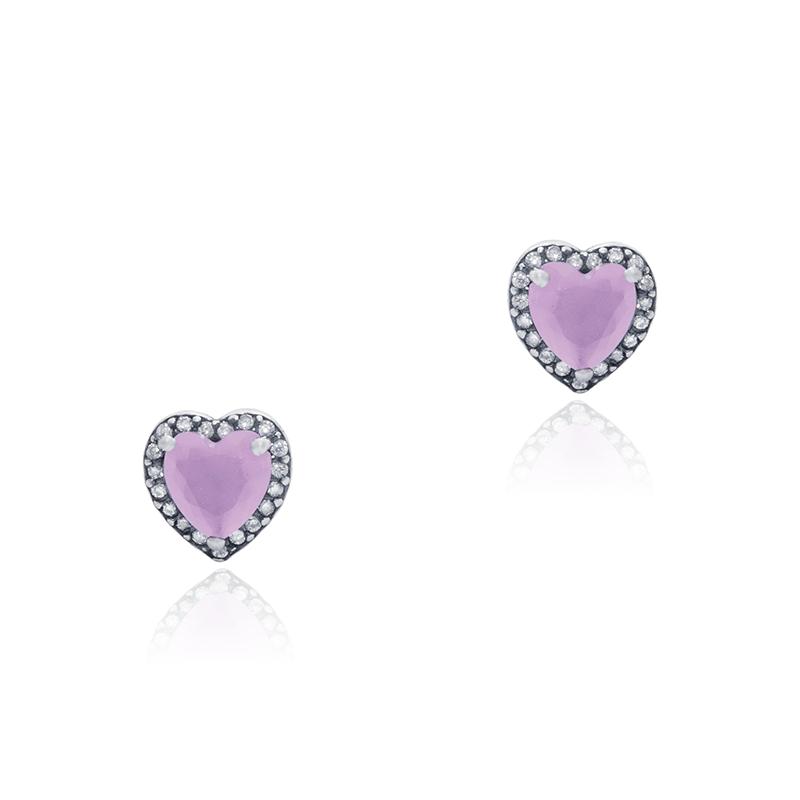 Brinco Coração Com Zircônias Rosa 8mm Em Prata 925