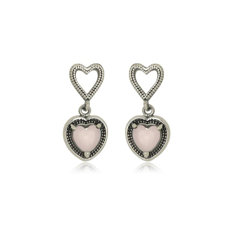Brinco Coração  Duplo Pedra Rosa Em Prata 925