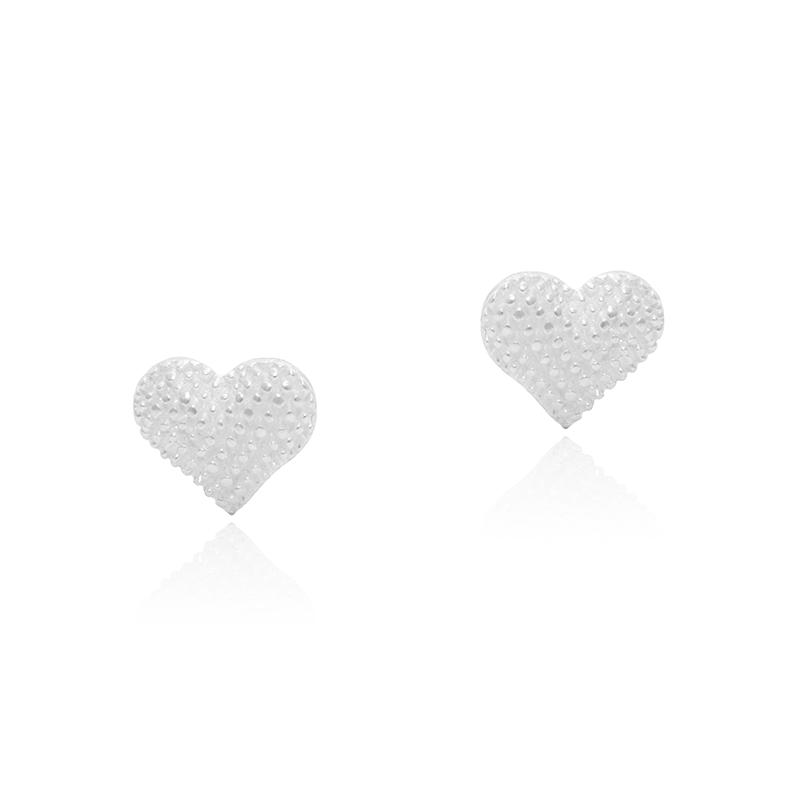 Brinco Coração Pontilhado 1,1cm Em Prata 925