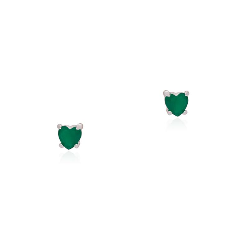 Brinco Coração Verde 7mm Em Prata 925