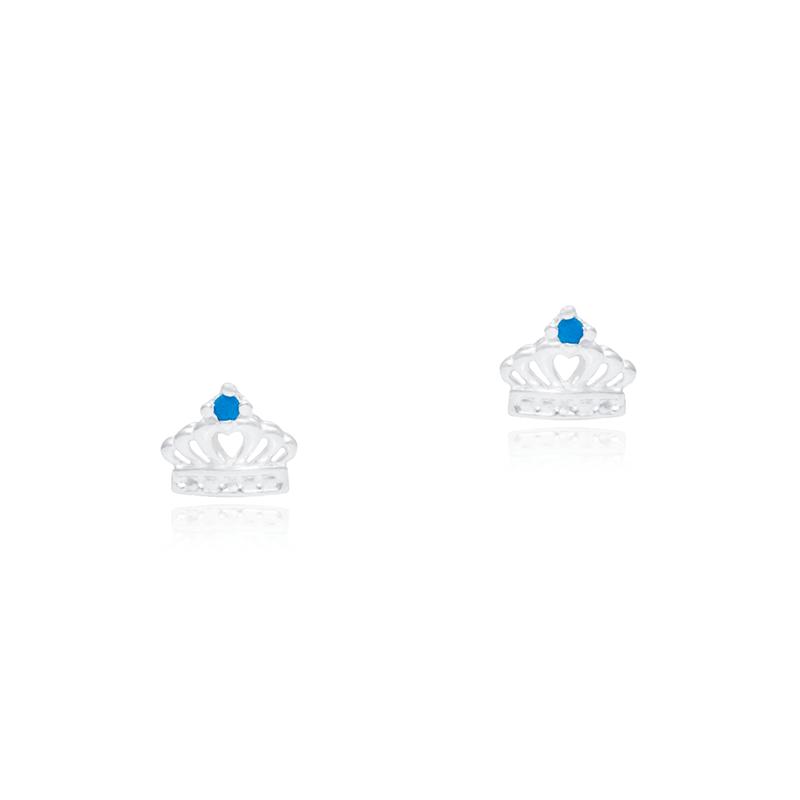 Brinco Coroa Mini Em Prata 925