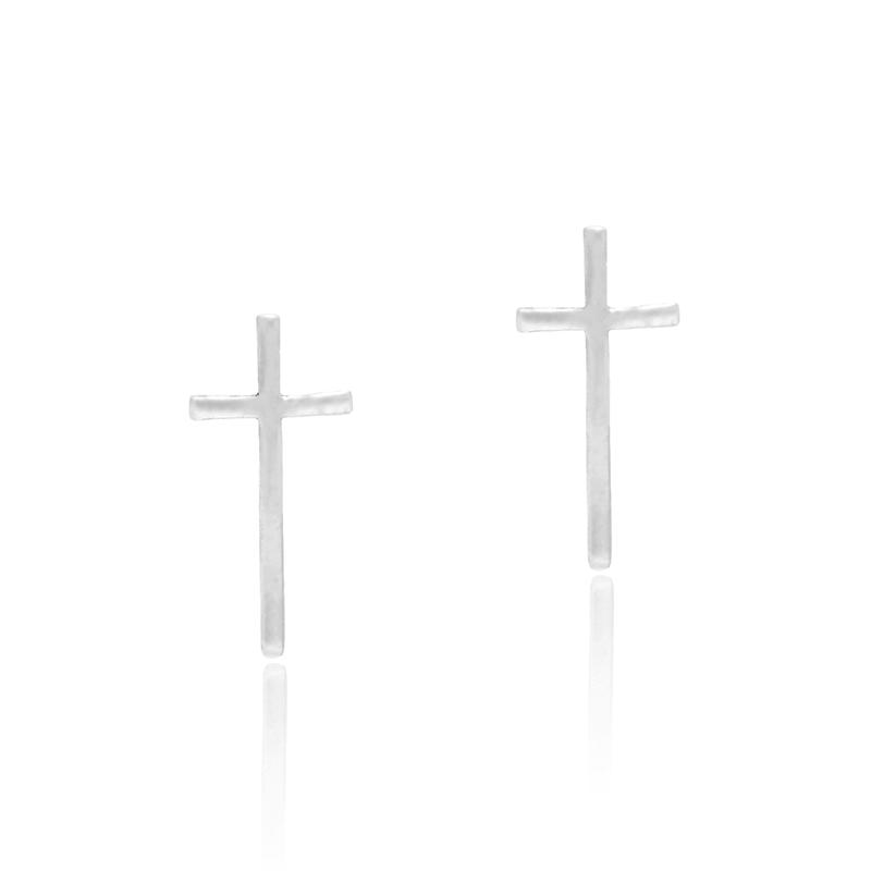 Brinco Cruz 1,5cm Em Prata 925