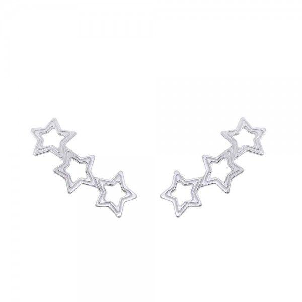 Brinco Ear Cuff Estrelas 2cm  Em Prata 925