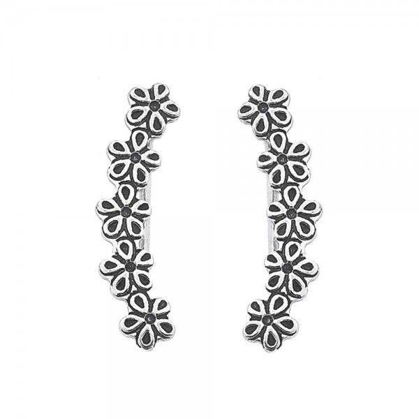 Brinco Ear Cuff Flores Envelhecido 2cm  Em Prata 925