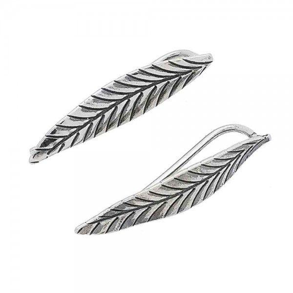 Brinco Ear Cuff Folhas Envelhecido 2,3 cm  Em Prata 925