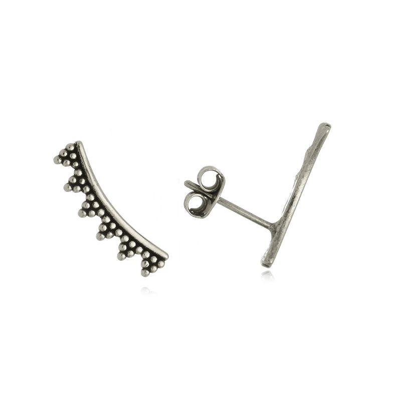 Brinco Ear Cuff Pontilhado 1,7 cm Em Prata 925