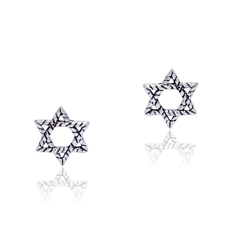 Brinco Estrela de Davi III Em Prata 925