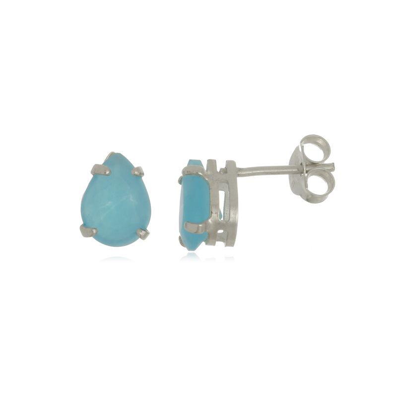 Brinco Gota Azul Piscina 1 cm Em Prata 925