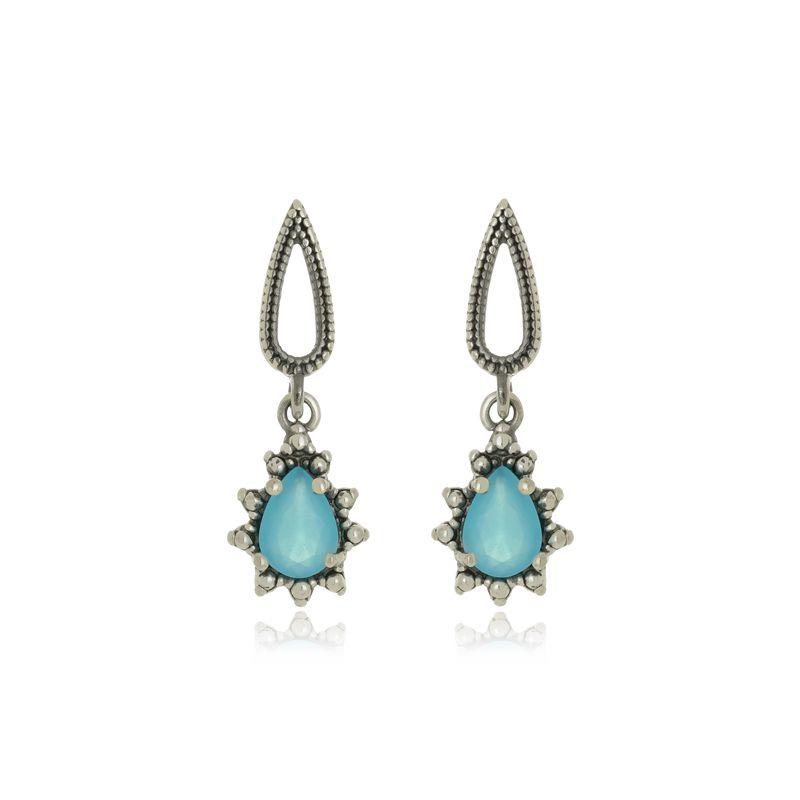 Brinco Gota Pedra Azul Em Prata 925