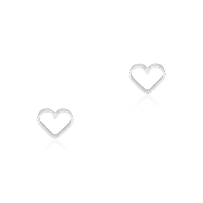 Brinco Mini Coração Vazado 5mm Prata 925