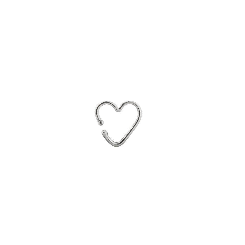 Brinco Piercing de Coração Vazado 1cm Em Prata 925