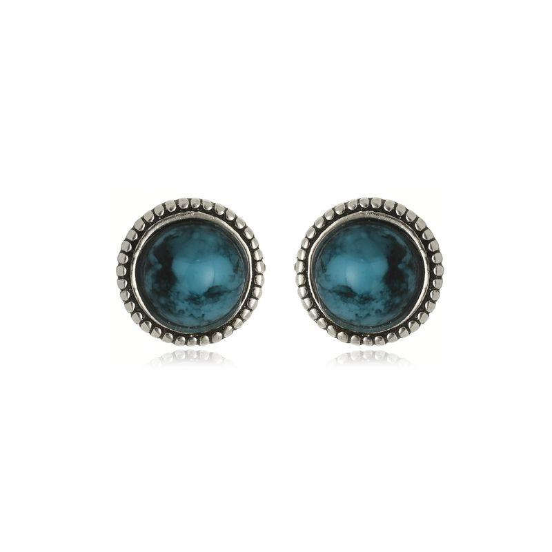 Brinco Redondo Pedra Azul Em Prata 925