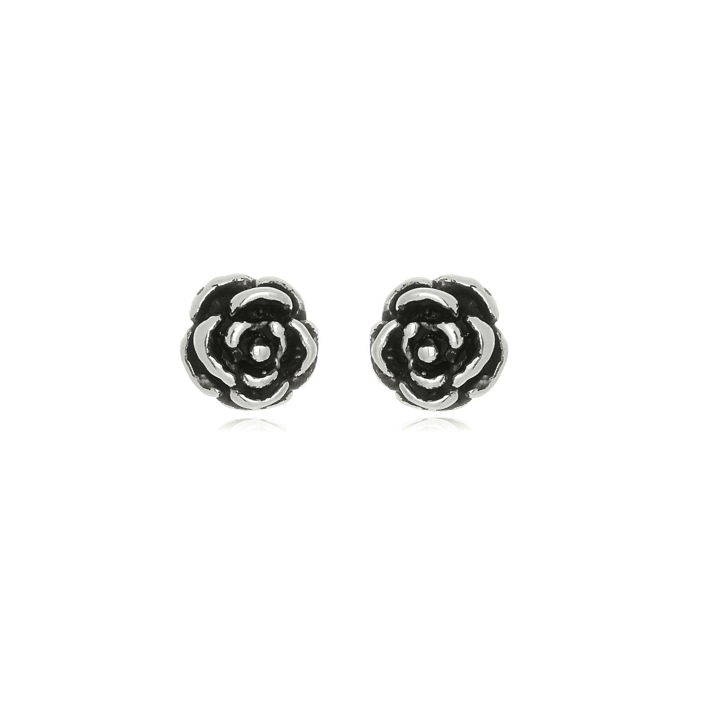 Brinco Rosa Envelhecida II 5mm Em Prata 925