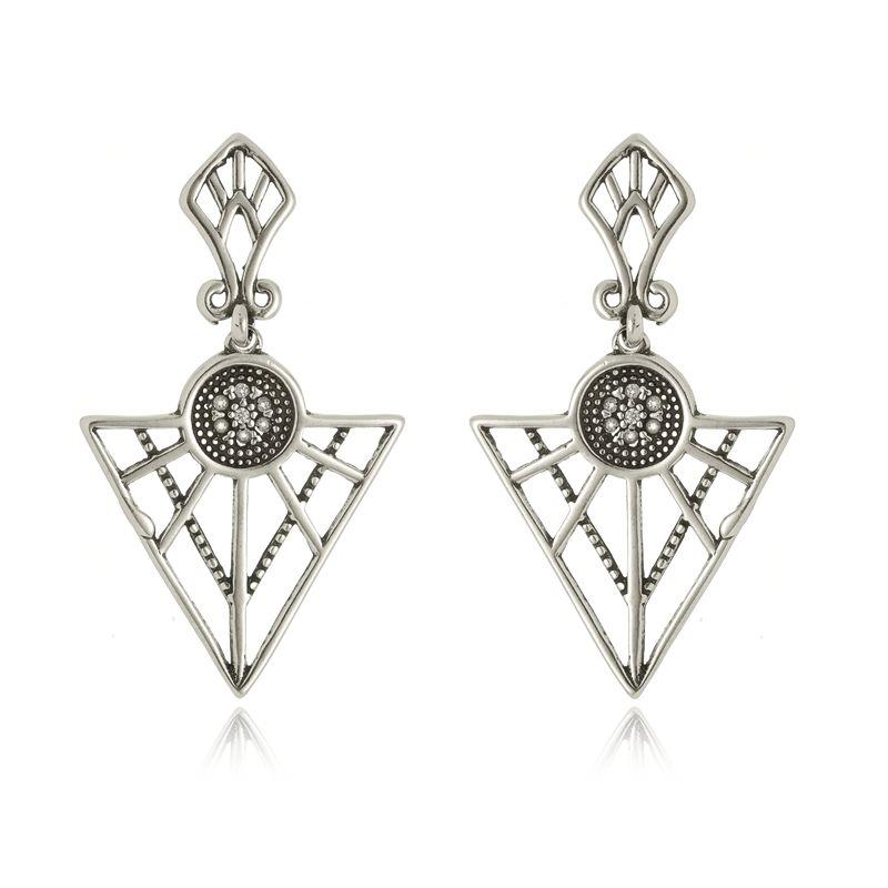 Brinco Triângulo Fashion Em Prata 925
