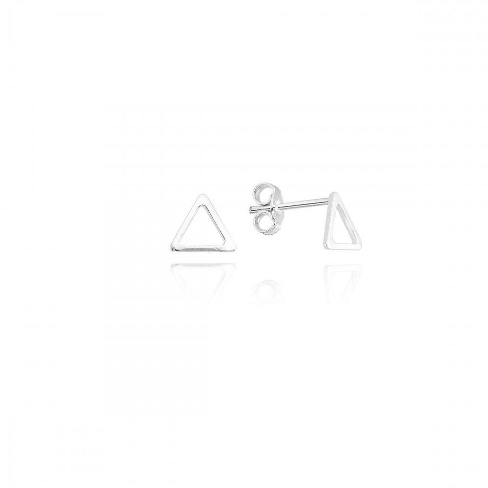 Brinco Triangulo Vazado 5mm Prata 925