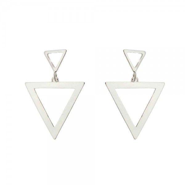 Brinco Triângulos 3cm Em Prata 925