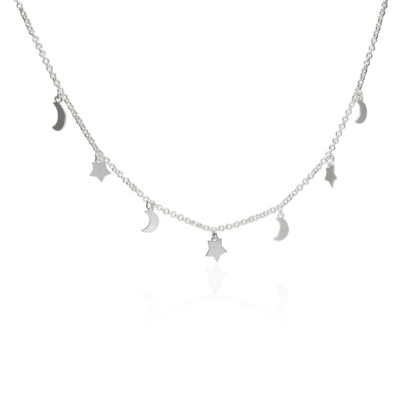 Colar Chocker Lua e Estrela Em Prata 925