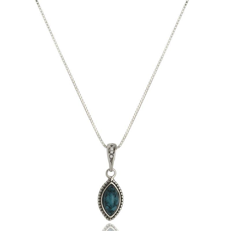 Colar Gota Azul Em Prata 925