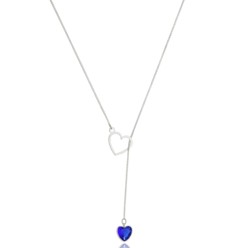 Colar  Gravatinha Coração Azul Royal  Em Prata 925
