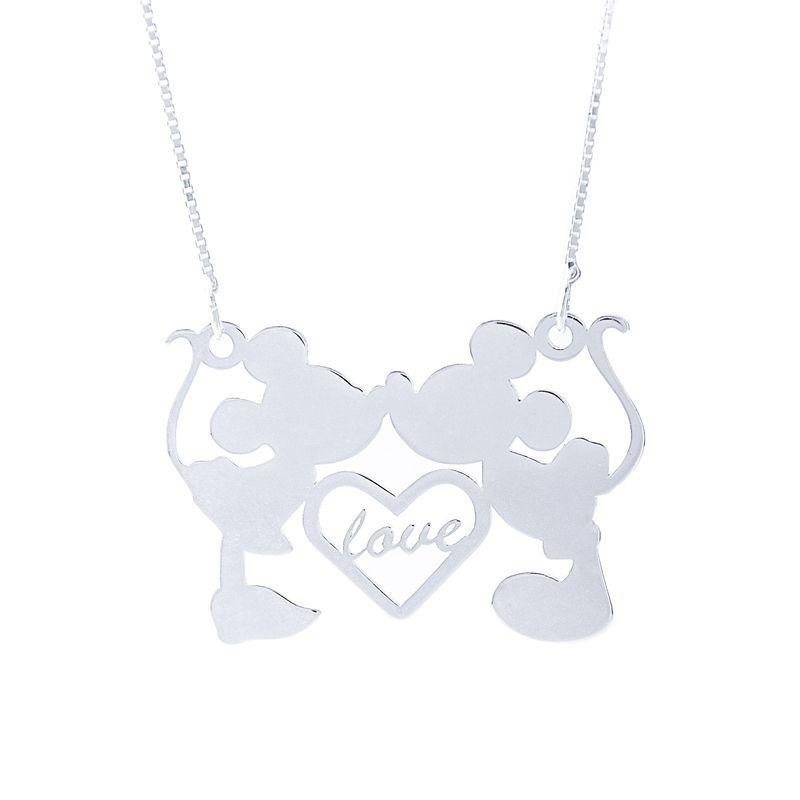Colar Love Mickey e Minnie Em Prata 925