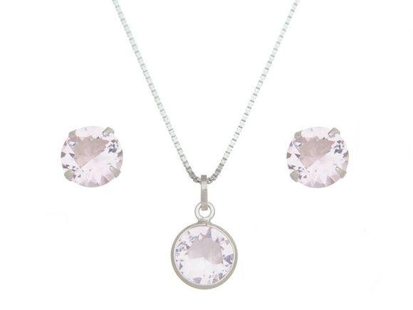Conjunto Pedra Rosa Cristal Prata 925