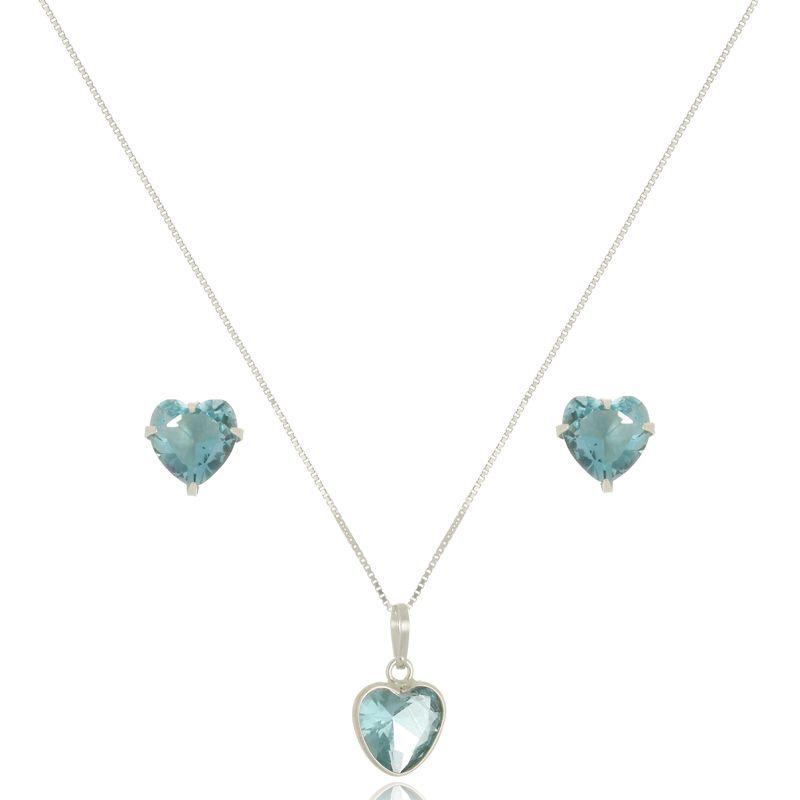 Conjunto Coração Azul Cristal 8 mm Em Prata 925