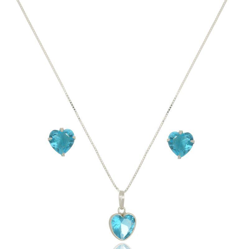 Conjunto Coração Azul Céu 8 mm Em Prata 925