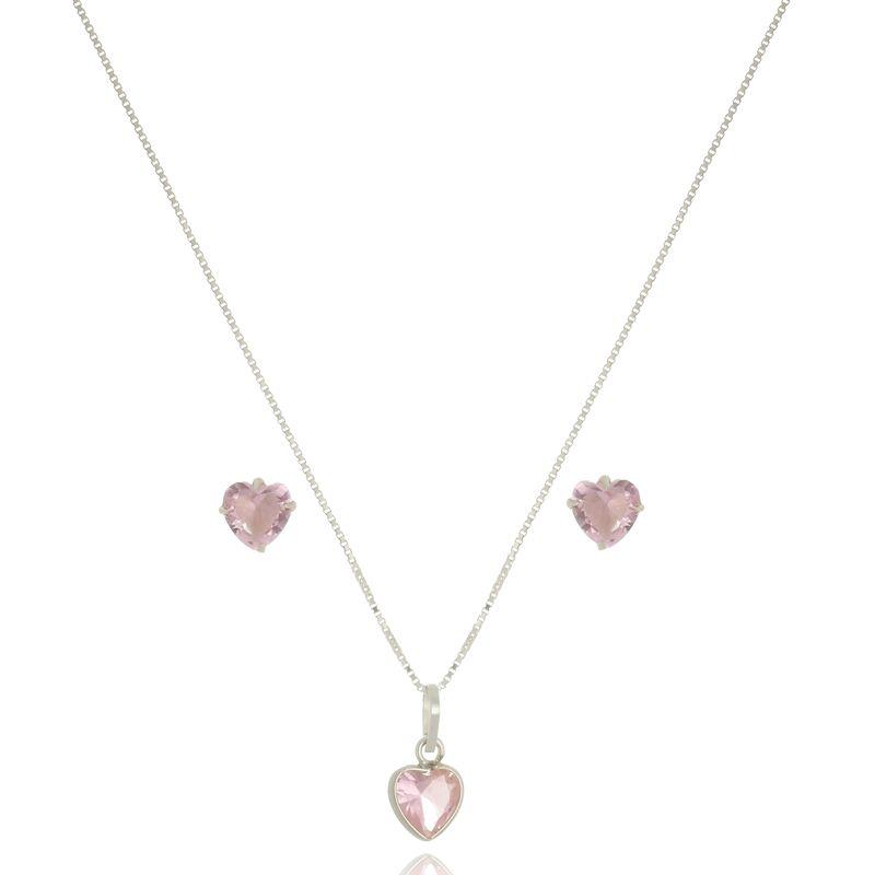 Conjunto Coração Rosa Cristal 8 mm Em Prata 925