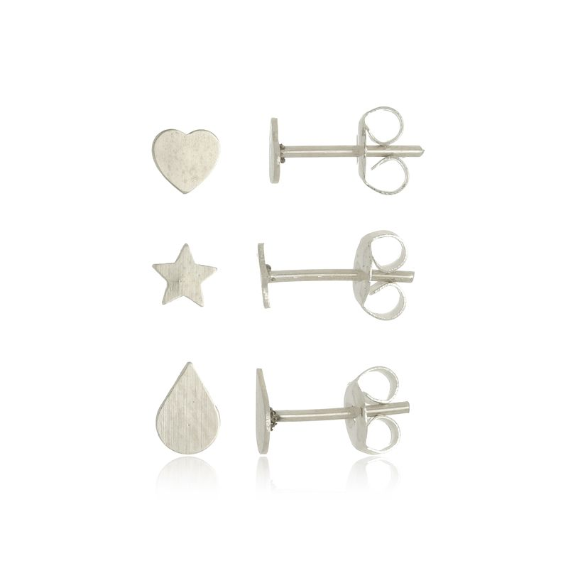 Conjunto de Brincos Coração Estrela e Gota em Prata 925