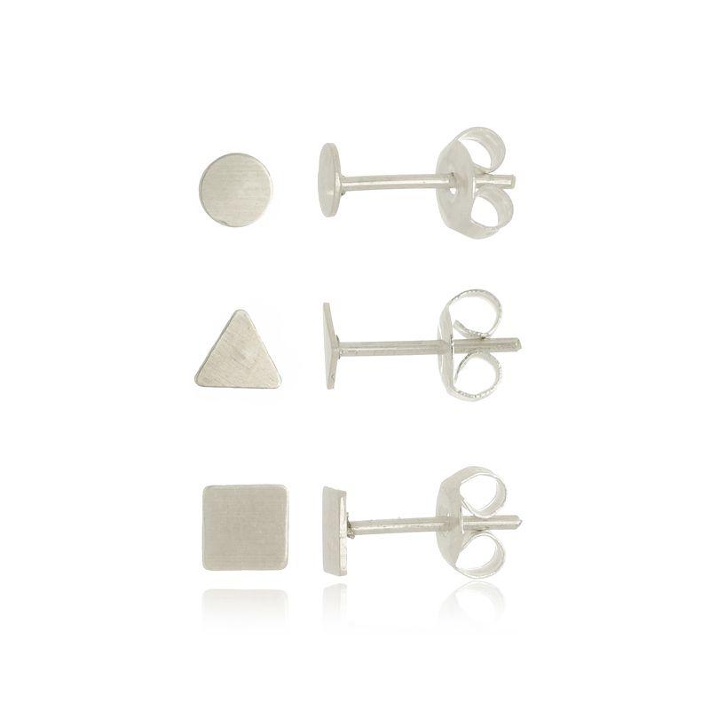 Conjunto de Brincos Criculo, Triangulo e Quadrado em Prata 925