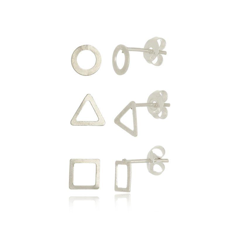Conjunto de Brincos Circulo, Triangulo e Quadrado Vazado em Prata 925
