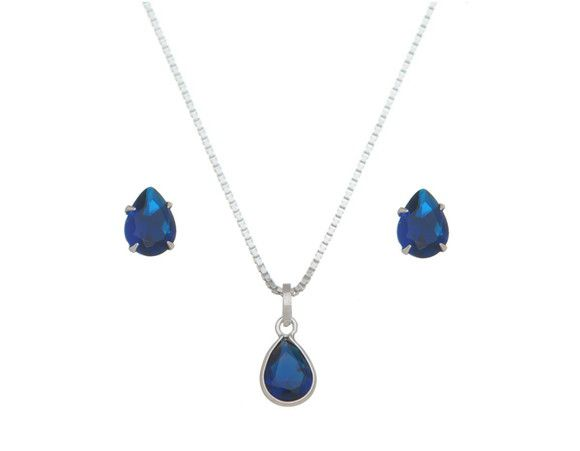 Conjunto Gota Azul Royal Prata 925